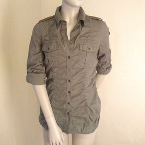 Express Military-Inspired Olive Green Button Up XS